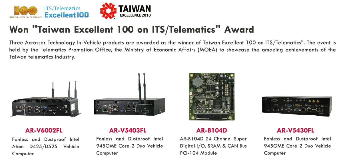 "Won ""Taiwan Excellent 100 on ITS/Telematics"" Award"